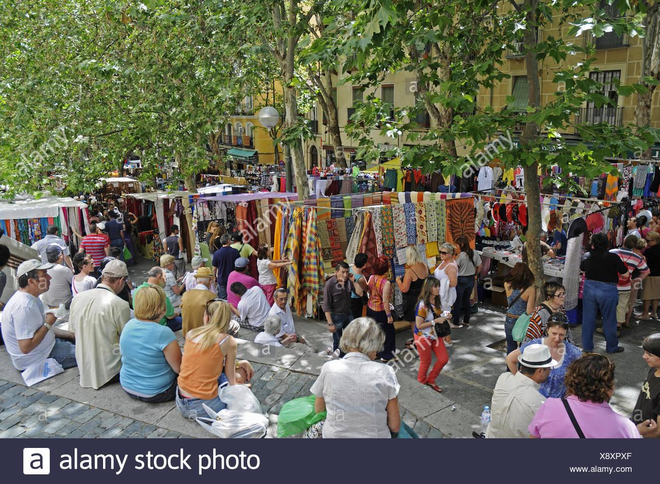 El Rastro, flea market, Madrid, Spain - Stock Image