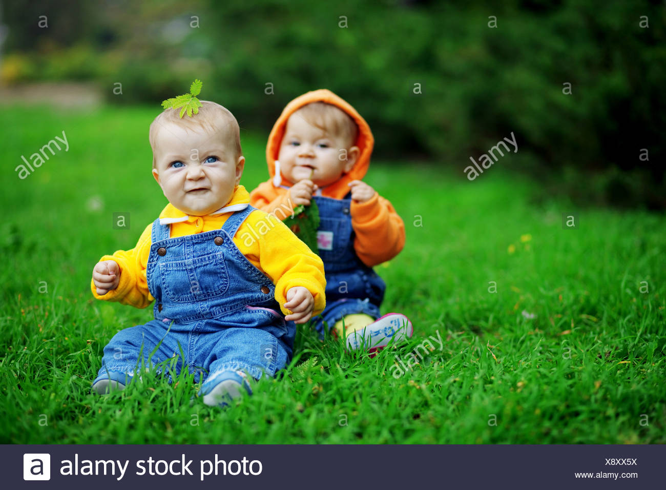 Cute Twins Babies Sitting On Stock Photos Cute Twins Babies