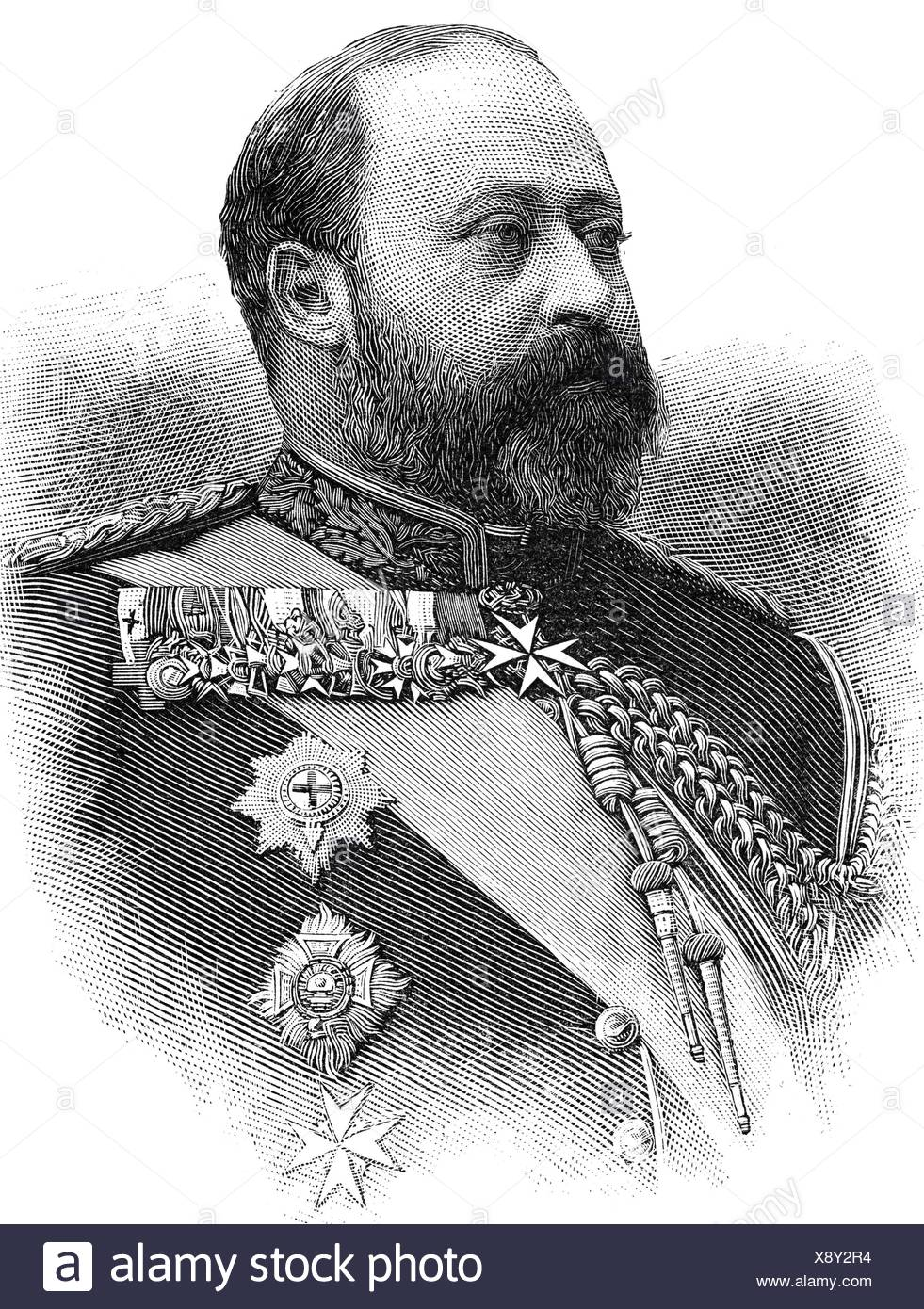 Edward VII, 9.11.1841 - 6.5.1910, King of Great Britian 22.1.1901 - 6.5.1910, portrait, wood engraving, 1891, , Additional-Rights-Clearances-NA - Stock Image
