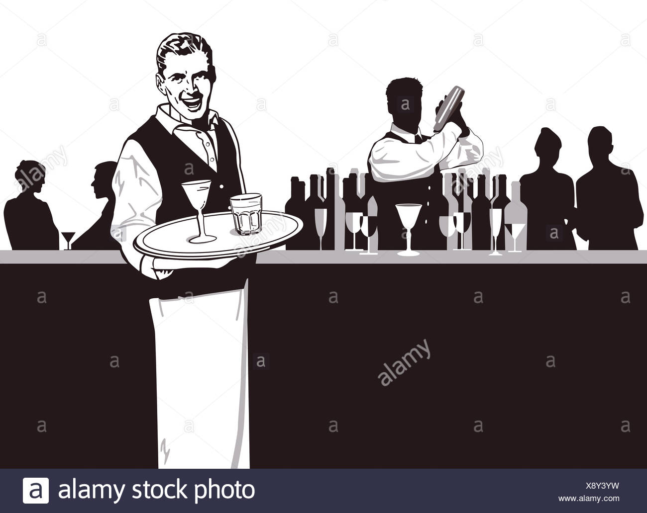 Waiters and Bartender - Stock Image