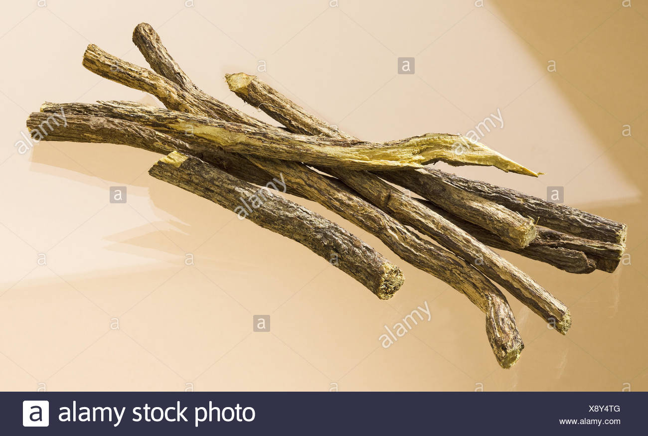 Sweet wooden, Glycyrrhiza glabra, dryly, legumes, liquorice, drug, drug, food, nature cuisine, spice, sweet wooden roots, food spice, taste, aroma, sweetly, roots, root pieces, sweet wooden sugar, G Stock Photo