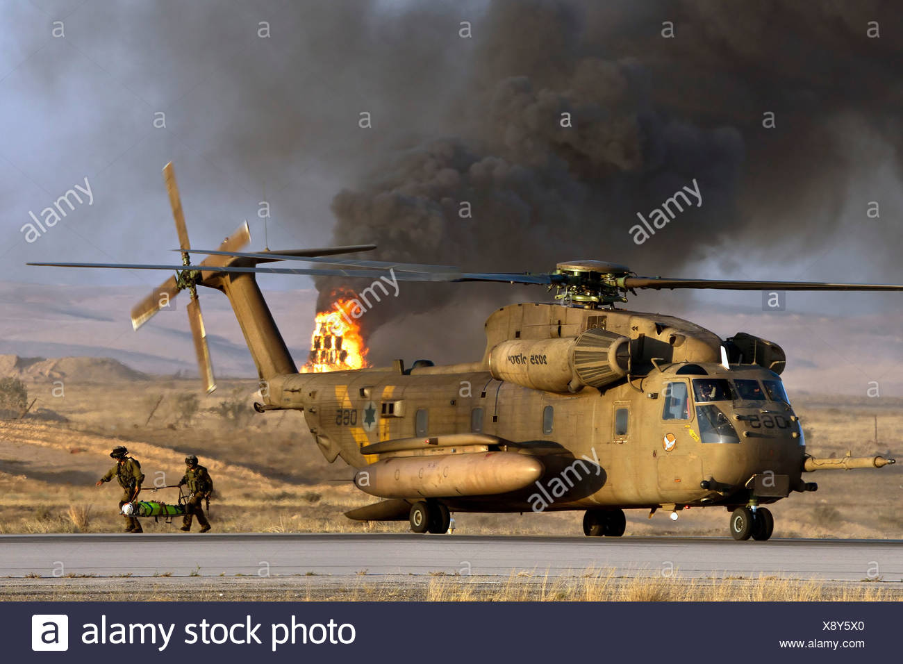 Israeli Air force Sikorsky CH-53 helicopter during a rescue operation - Stock Image