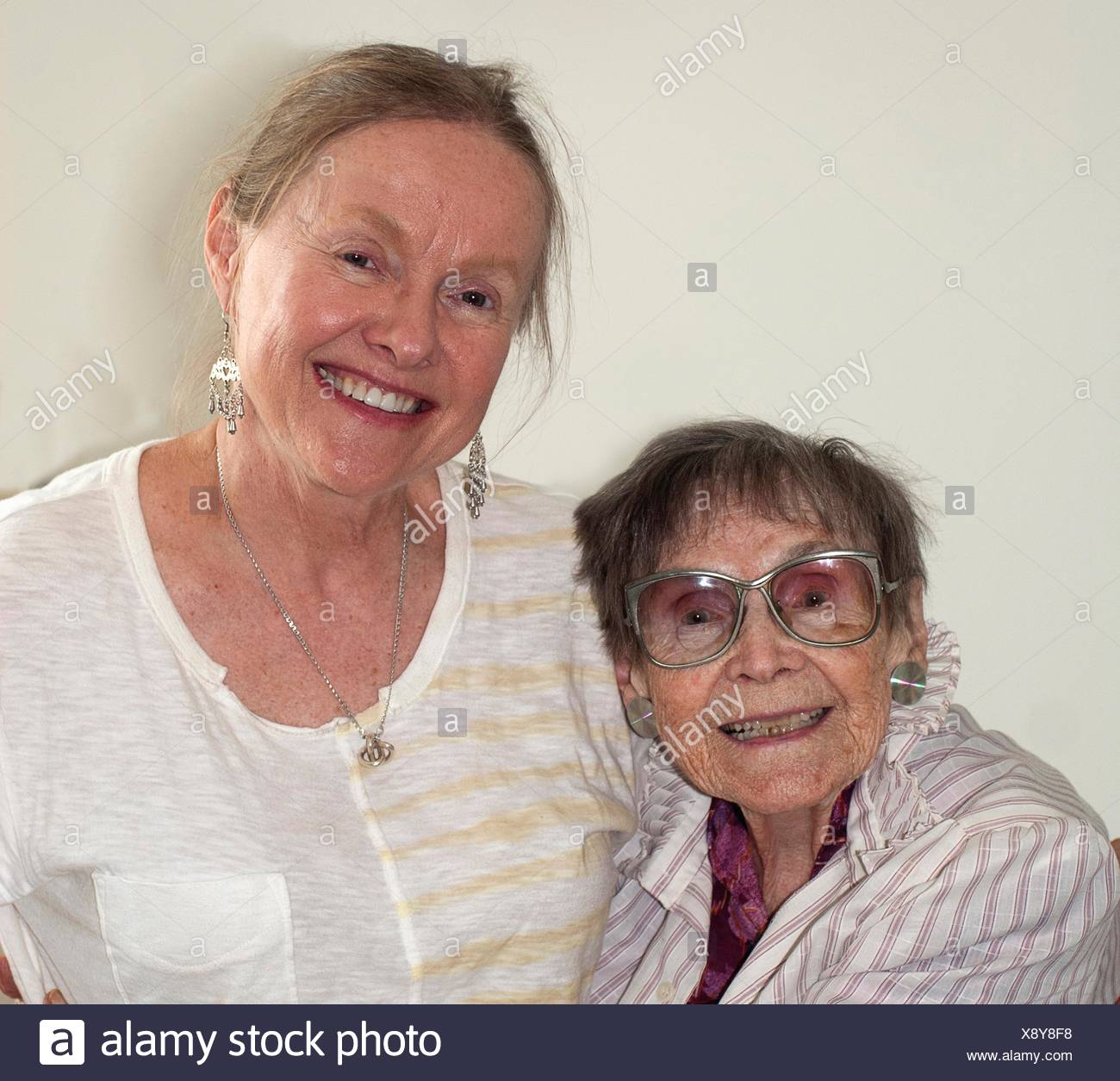 Mother and daughter, ages 92 and 62 - Stock Image