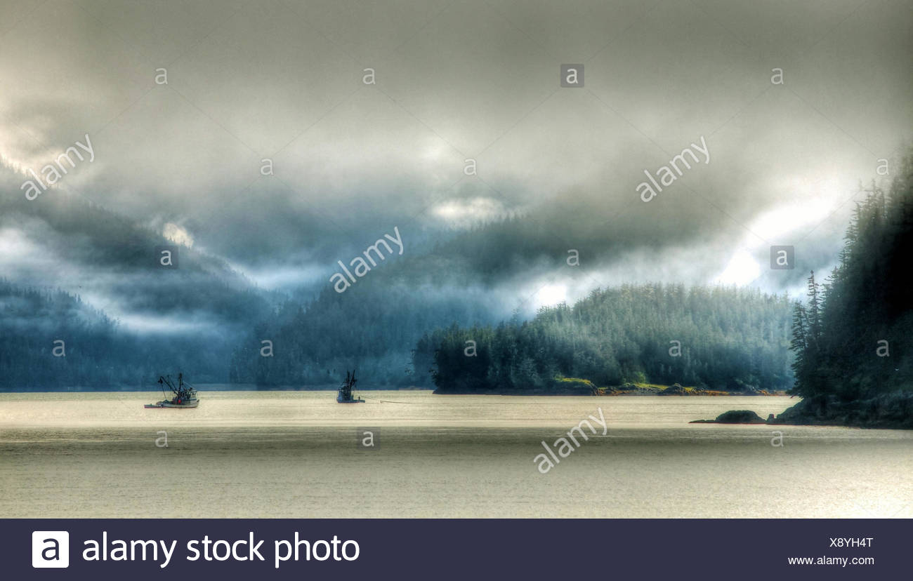 Alaska,USA,Prince William Sound,ferry,ferryboat,fishing ships,sea,fog,mountains,Valdez,Alaska Peninsula,gulf of Alask Stock Photo