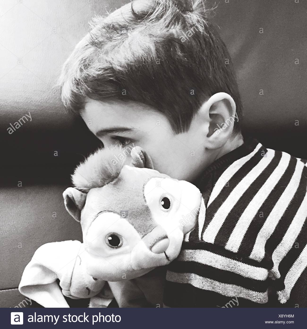Close-Up Of Cute Boy With Toy - Stock Image
