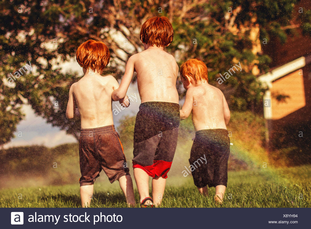 Three young brothers playing in water sprinklers - Stock Image
