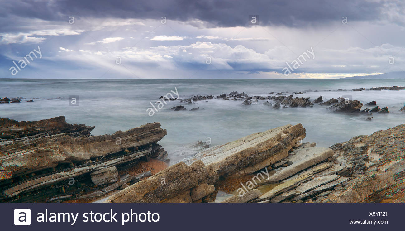 Syn-orogenic flysch rock formations - Basque Country France - Stock Image
