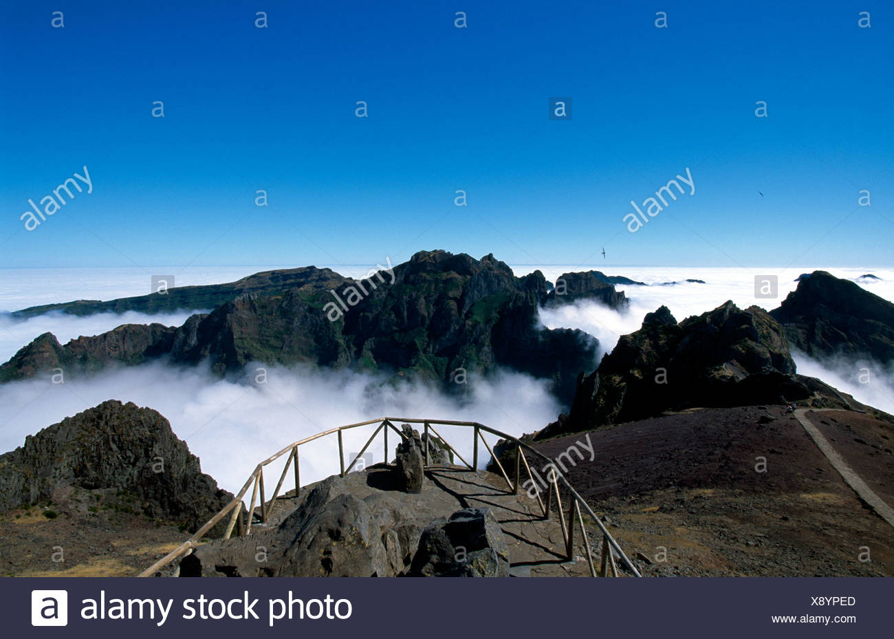 View of Mount Pico do Arieiro from Mount Miradouro do Juncal, Madeira, Portugal, Europe - Stock Image