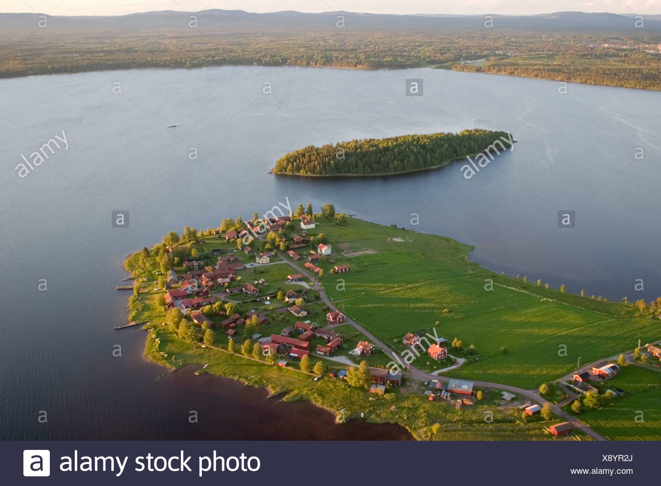 Islands in a lake, aerial view, Dalarna, Sweden. Stock Photo