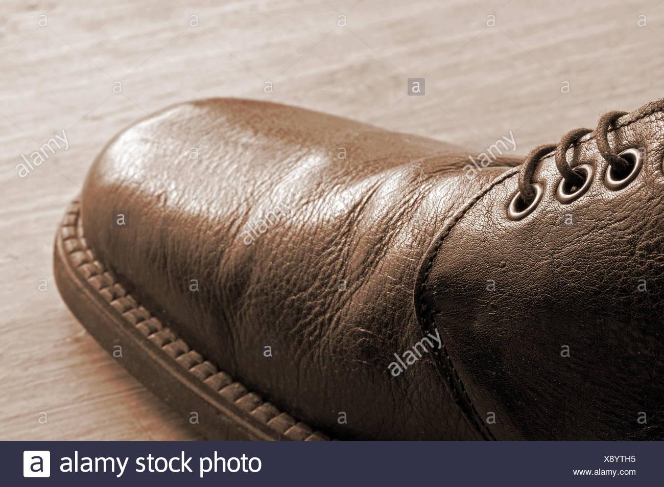 leather shoe antique-style - Stock Image