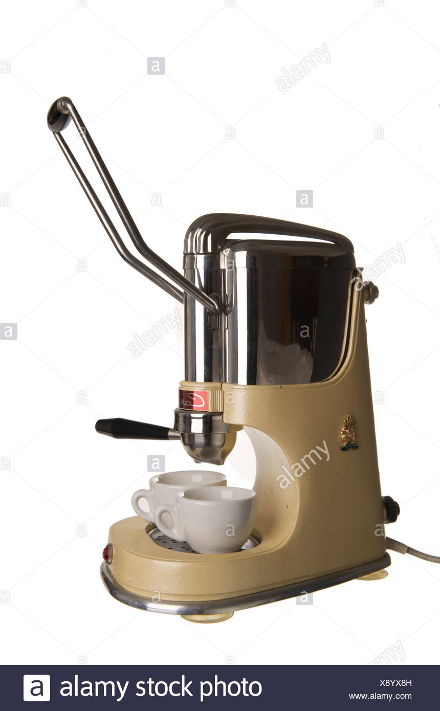 Old coffee machine with manual lever and portafilter 'Caravelle', Italy - Stock Image