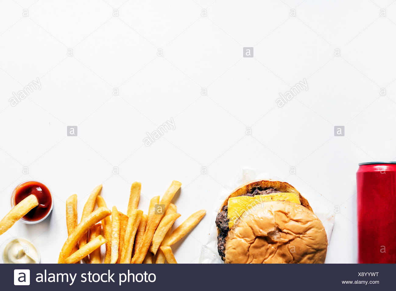 Aerial view of burger and fries fast food - Stock Image