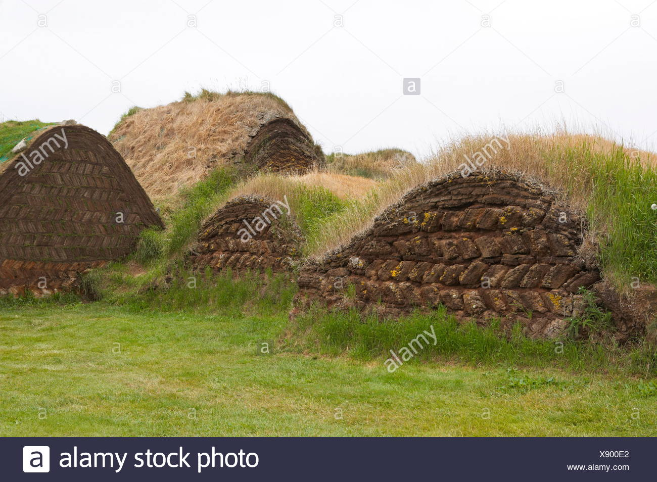 geography / travel, Iceland, Glaumbaer farm, peat houses, Additional-Rights-Clearance-Info-Not-Available - Stock Image