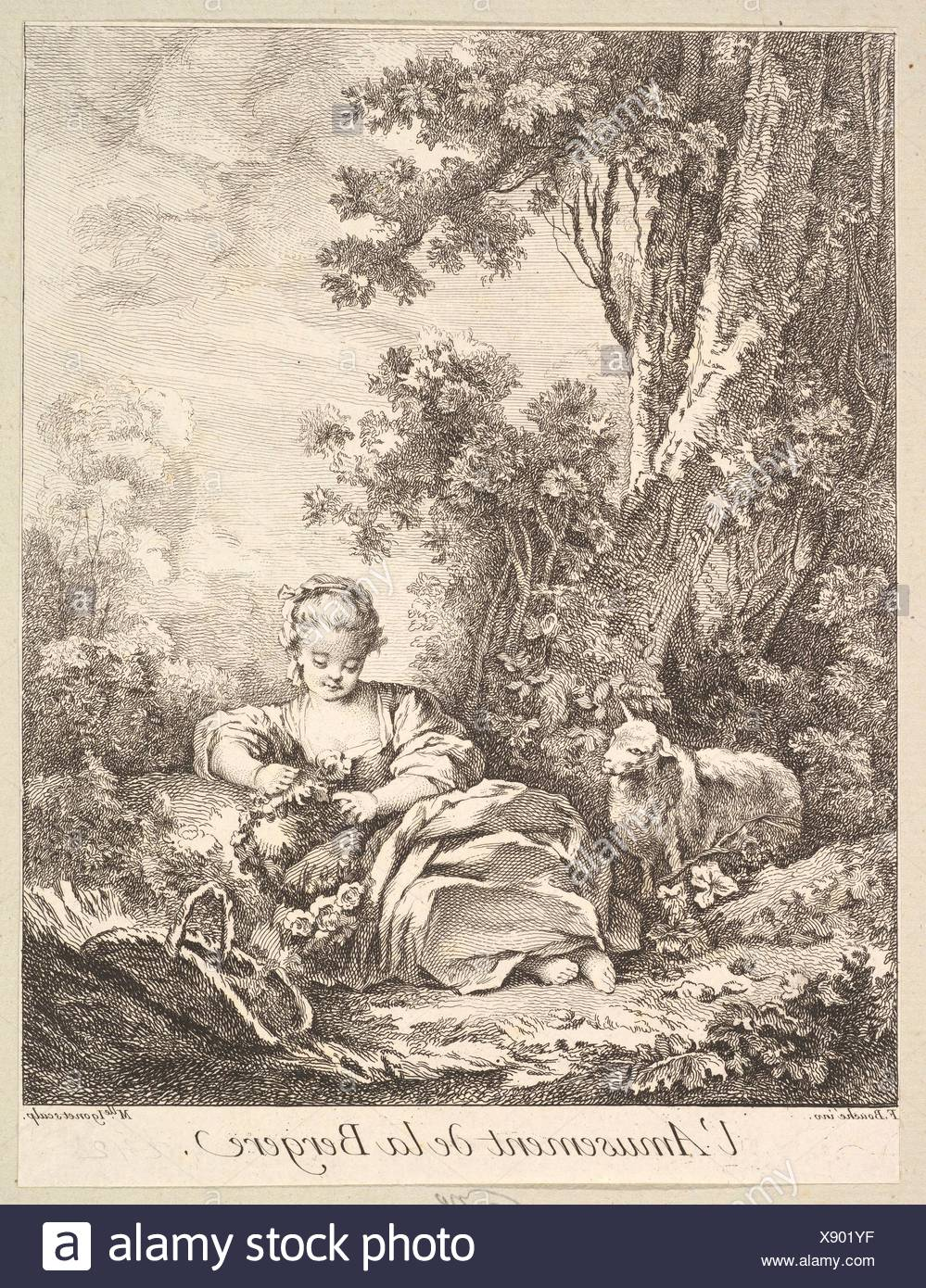 The Amusement of a Shepherd Girl. Artist: Marie Madeleine Igonet (French, active Paris, 1744-60); Artist: After François Boucher (French, Paris - Stock Image