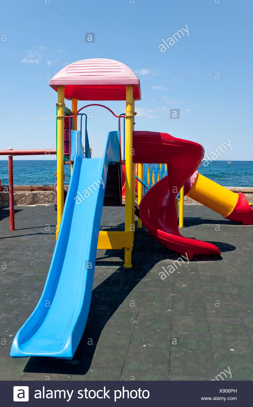 Playground at the port of Kyrenia, also known as Girne, Northern Cyprus, Cyprus, Europe Stock Photo