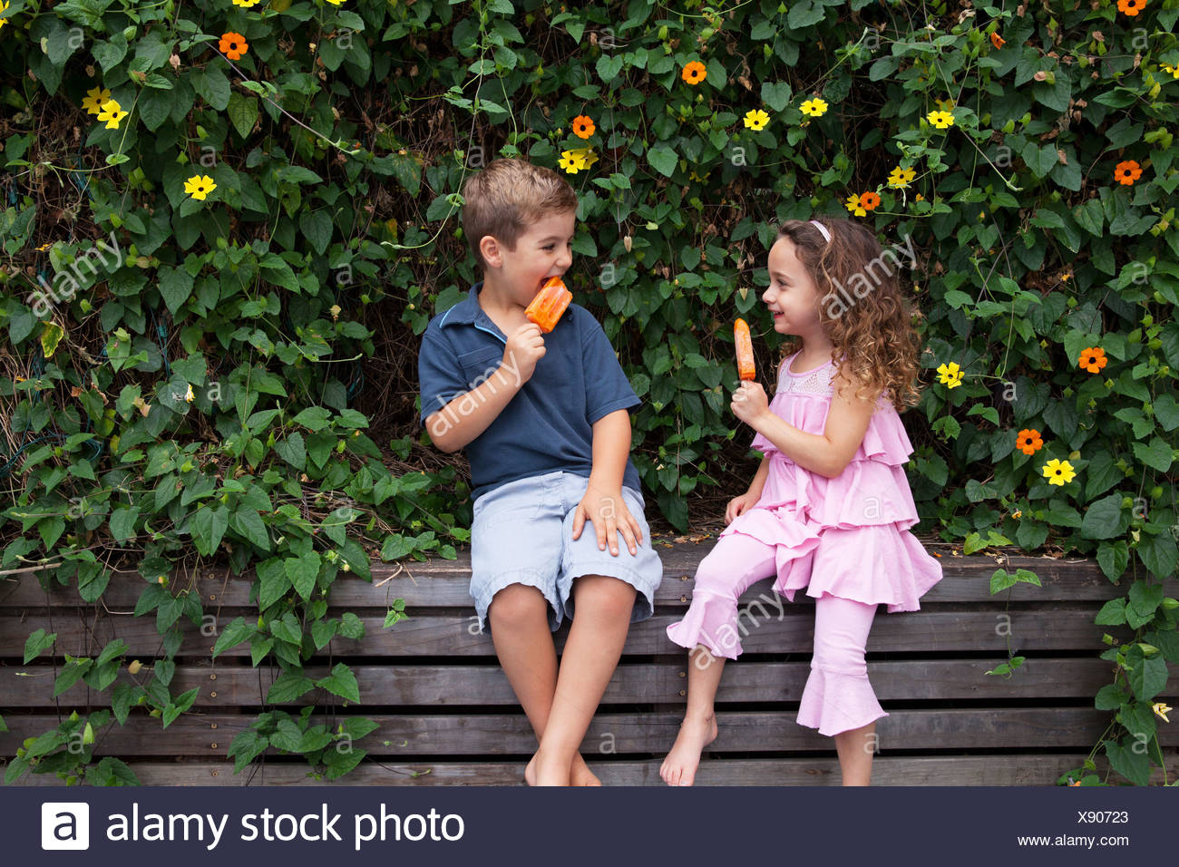 Brother and sister eating ice lollies by plants Stock Photo