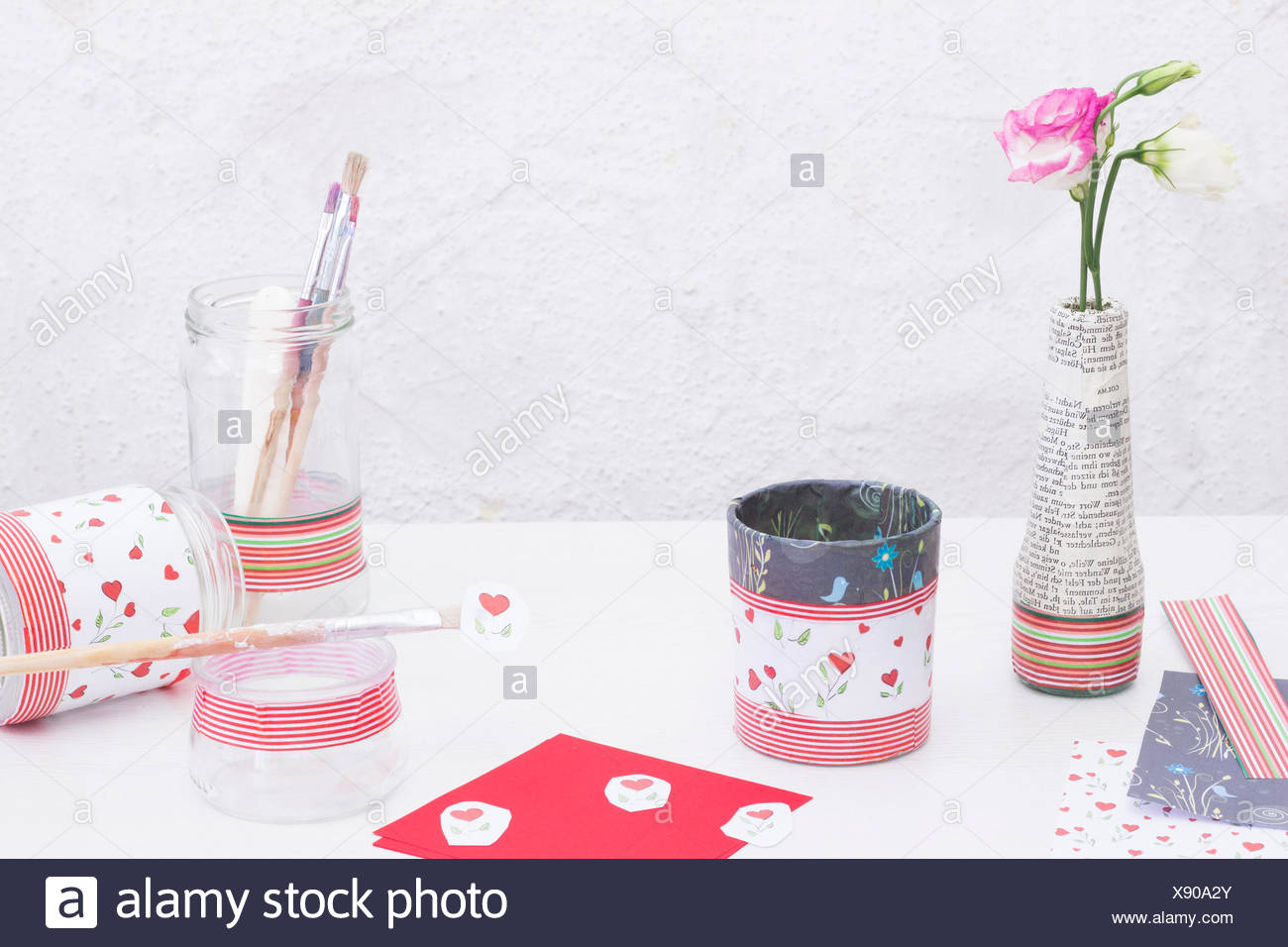Decorating glasses with decoupage Stock Photo