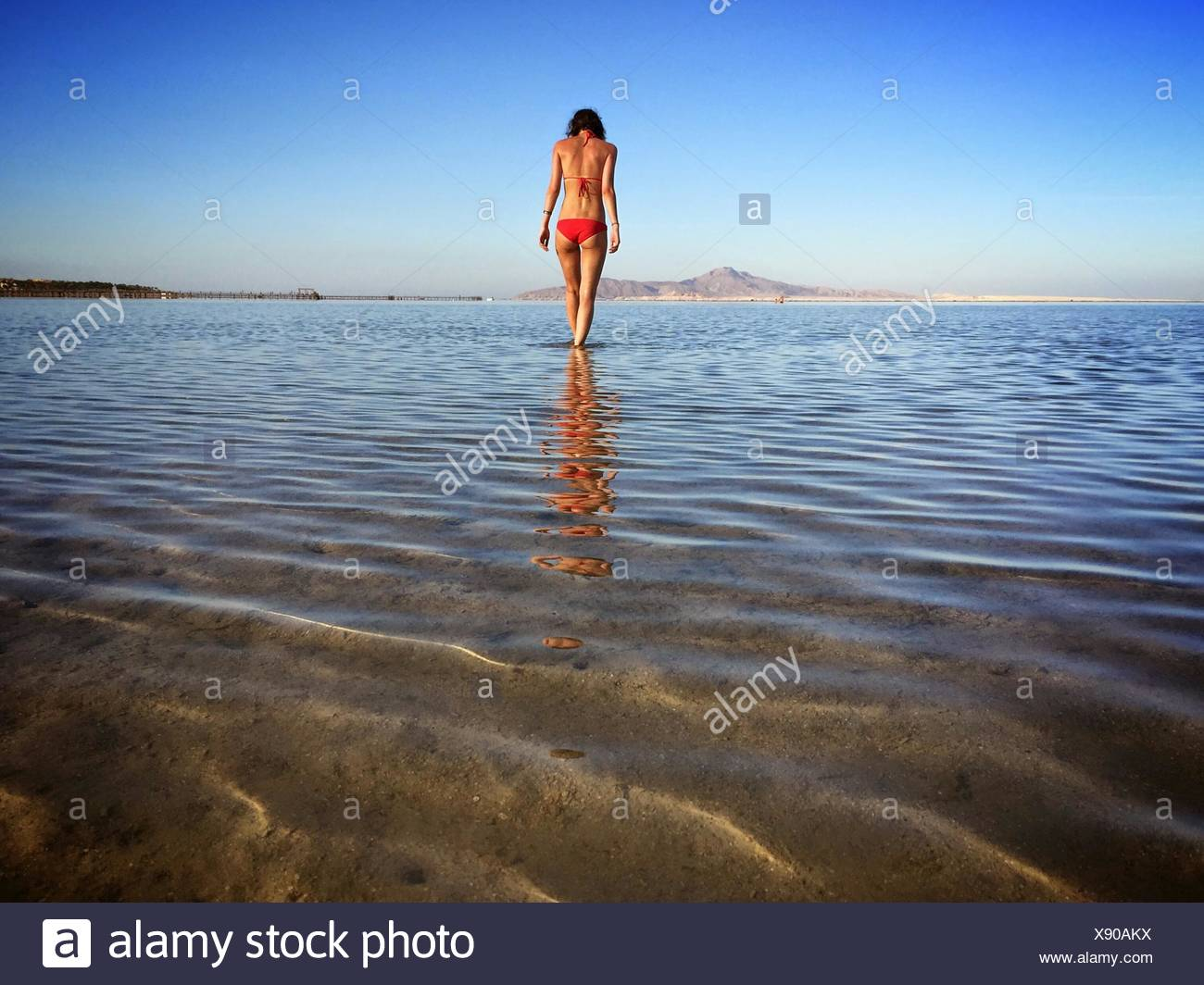 Rear View Of Woman In Swimwear At Beach Against Clear Blue Sky - Stock Image