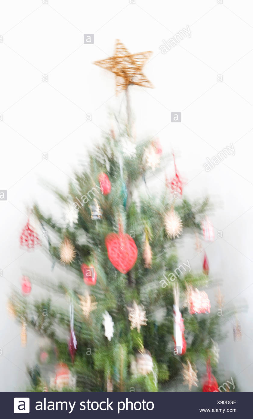 Blurred image of decorated Christmas tree Stock Photo