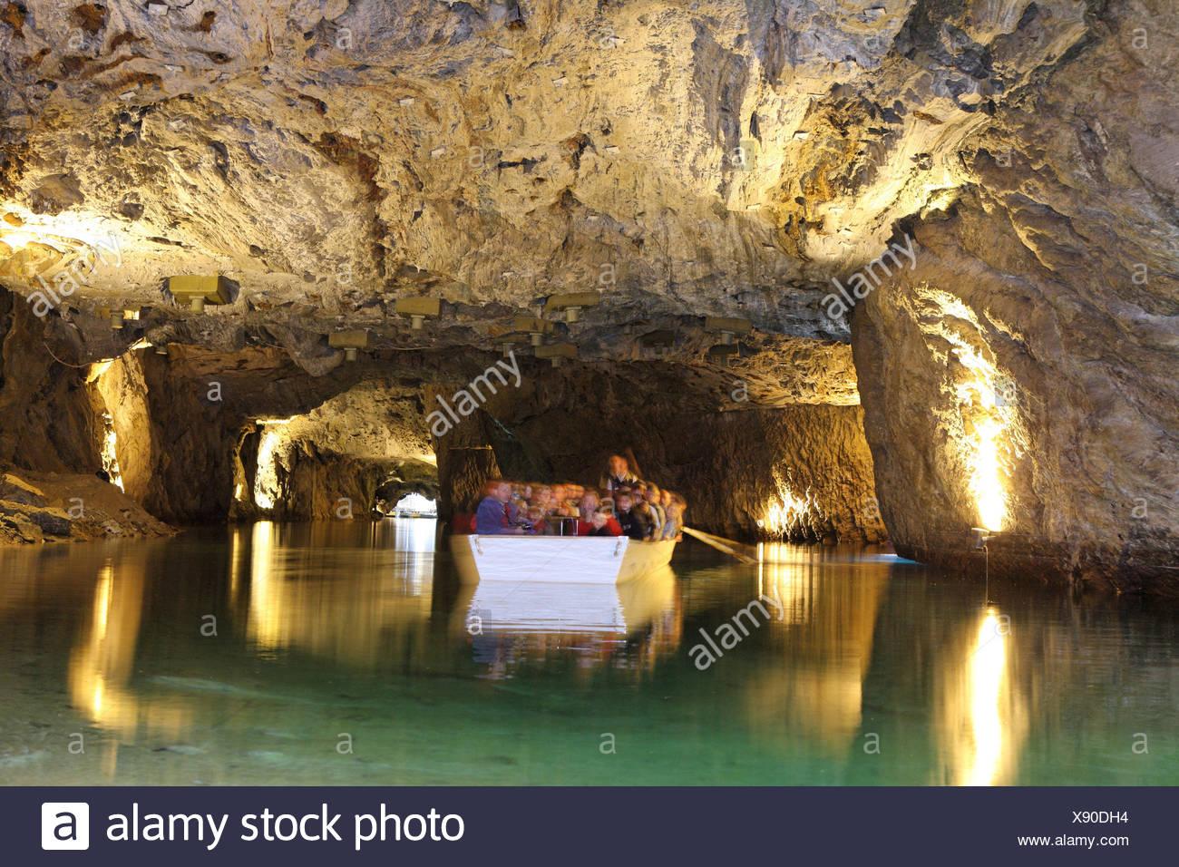 Switzerland Europe Saint-Léonard underground lake Indoor Inside landscape alpine alps mountain mountains Ca - Stock Image