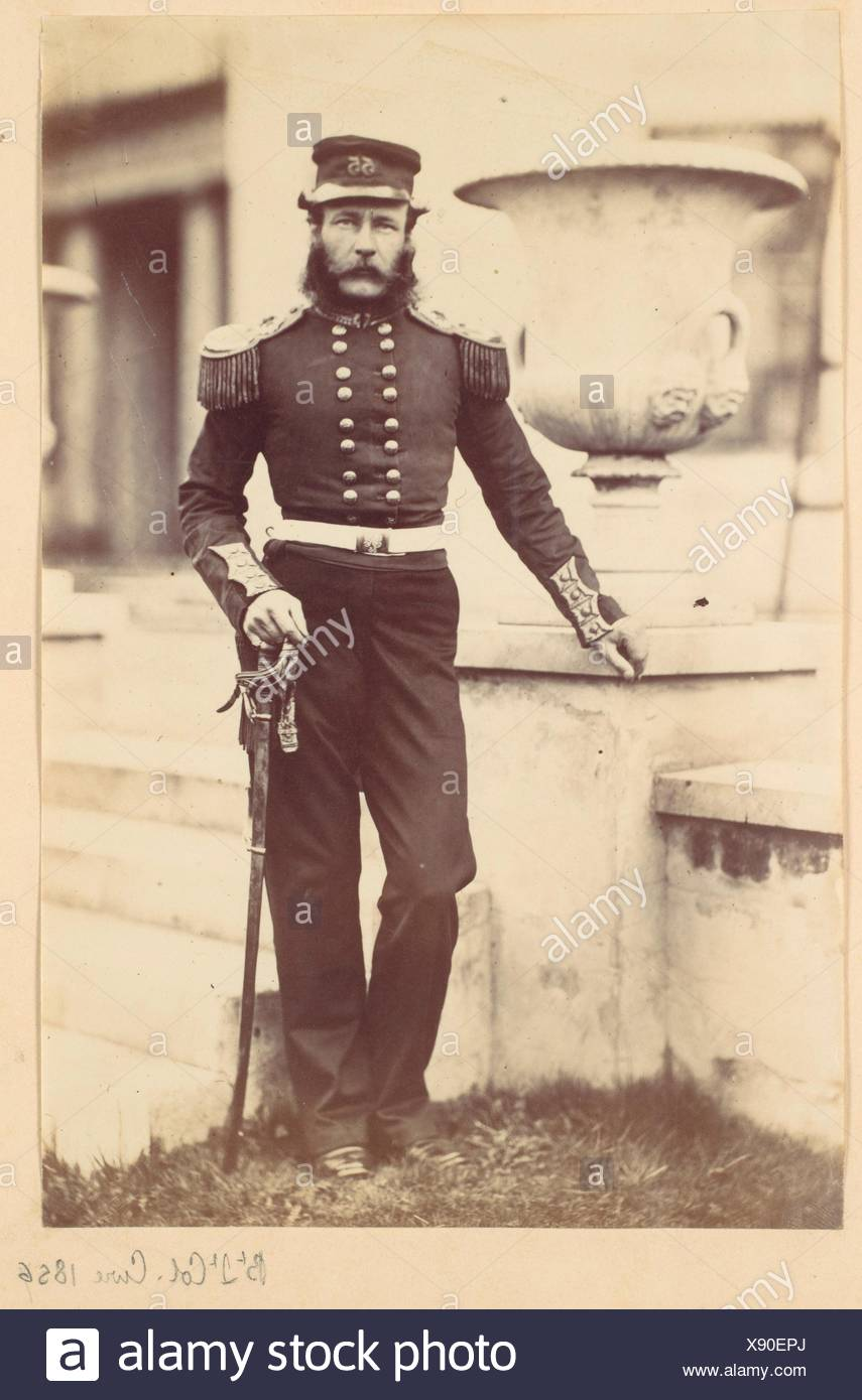 Brevet Lieutenant Colonel Cure. Artist: Alfred Capel Cure (British, 1826-1896); Date: 1856; Medium: Albumen silver print from glass negative; - Stock Image