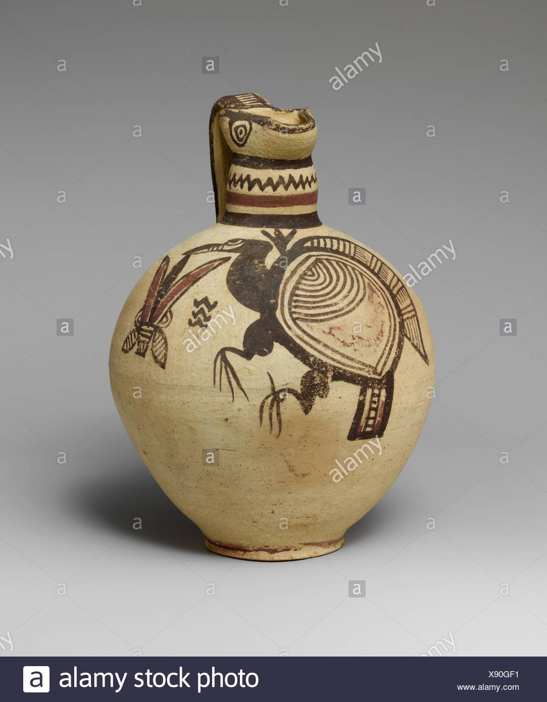 Terracotta jug. Period: Cypro-Archaic I; Date: 750-600 B.C; Culture: Cypriot; Medium: Terracotta; Dimensions: H. 7 5/16 in. (18.5 cm); Stock Photo