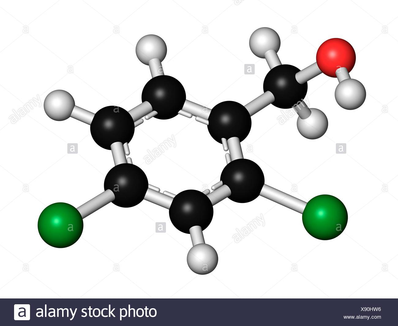 2,4-dichlorobenzyl alcohol antiseptic drug molecule Used in lozenges to treat sore throat Atoms are represented as spheres with - Stock Image