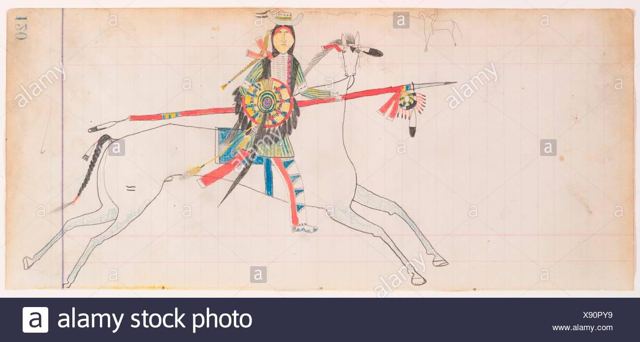 Horse and Rider (Henderson Ledger Artist A). Artist: Frank Henderson (Native American, Hinono'eiteen (Arapaho), 1862-1885); Date: ca. 1882; - Stock Image