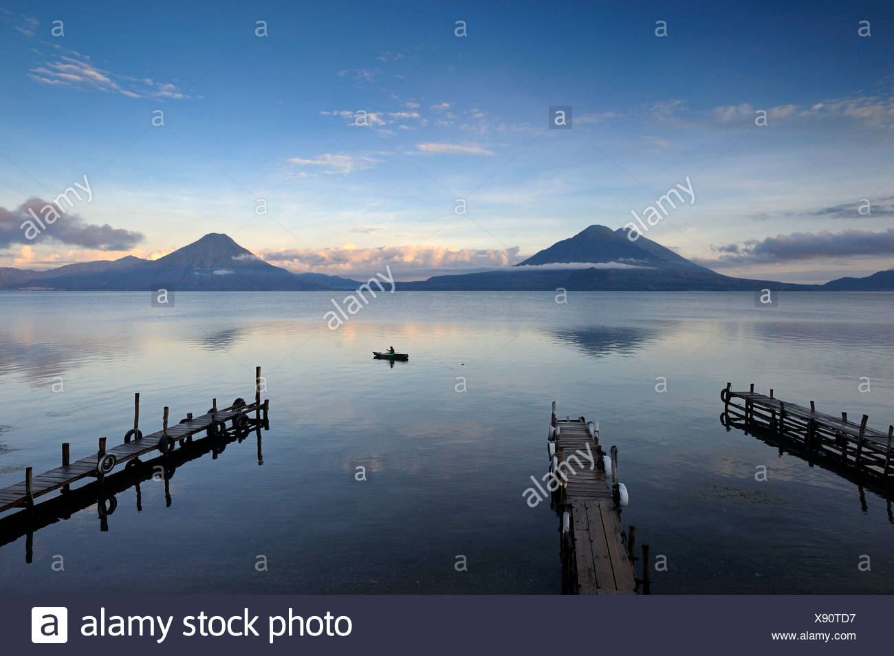 Lake Atitlan, San Pedro volcano, Toliman volcano, Atitlan, fisherman, Guatemala, Central America - Stock Image