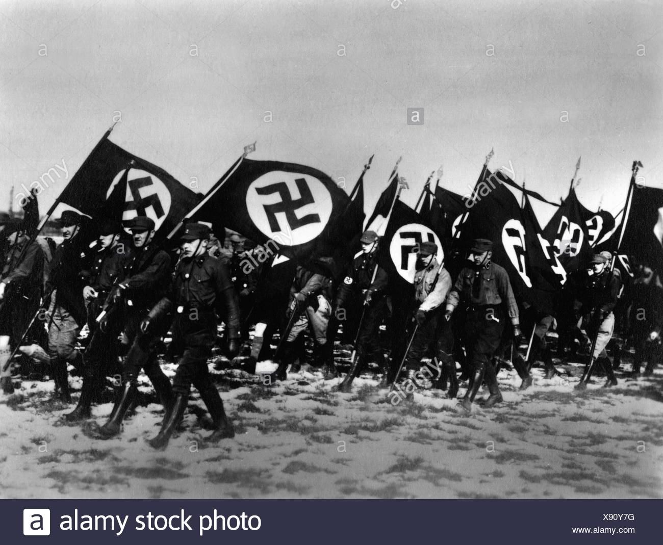 National Socialism, organisations, storm battalion (storm battalion ), parade in Bernau, 1927, Additional-Rights-Clearences-NA - Stock Image
