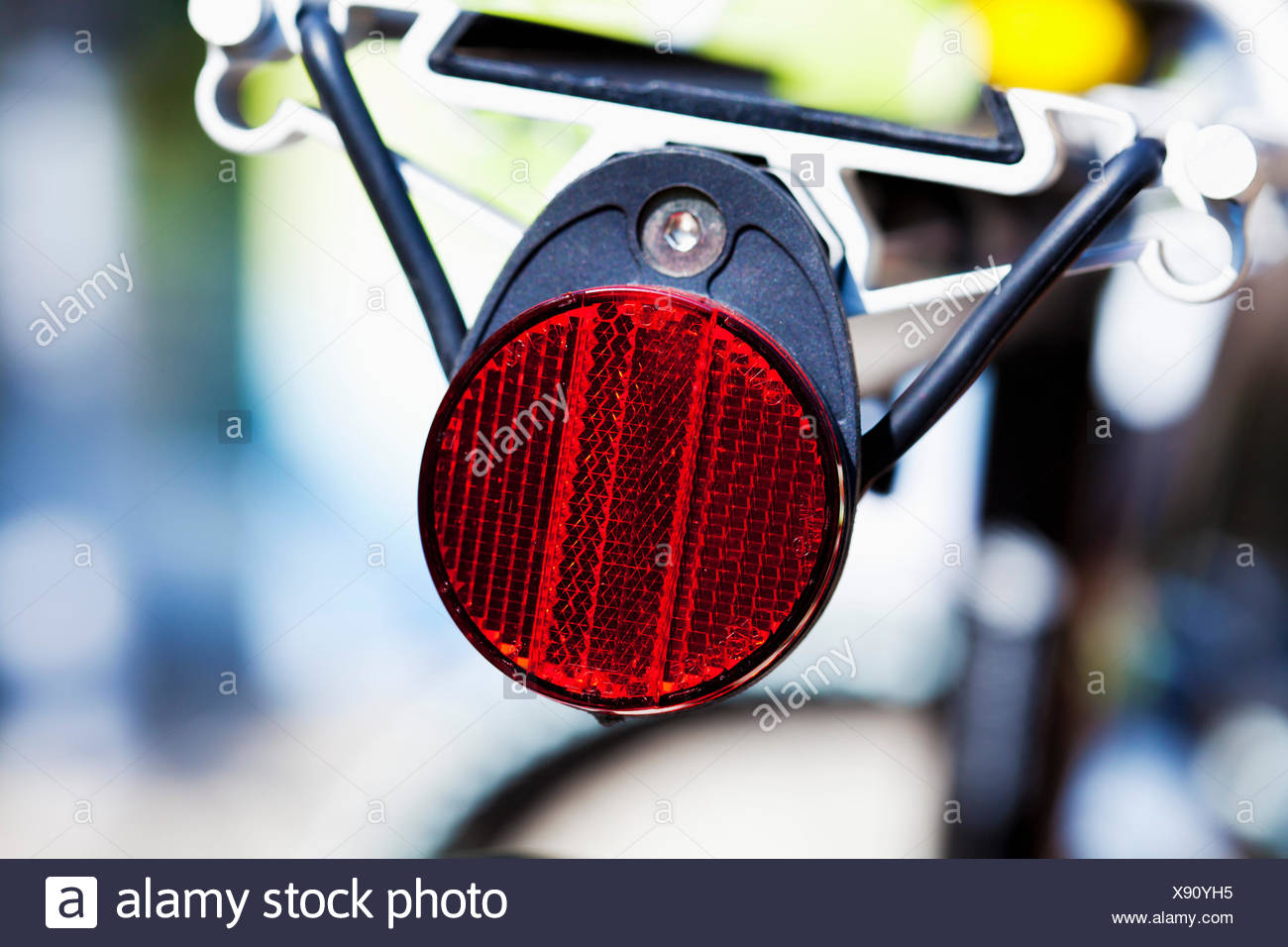 Rear reflector and rack of a mountainbike - Stock Image