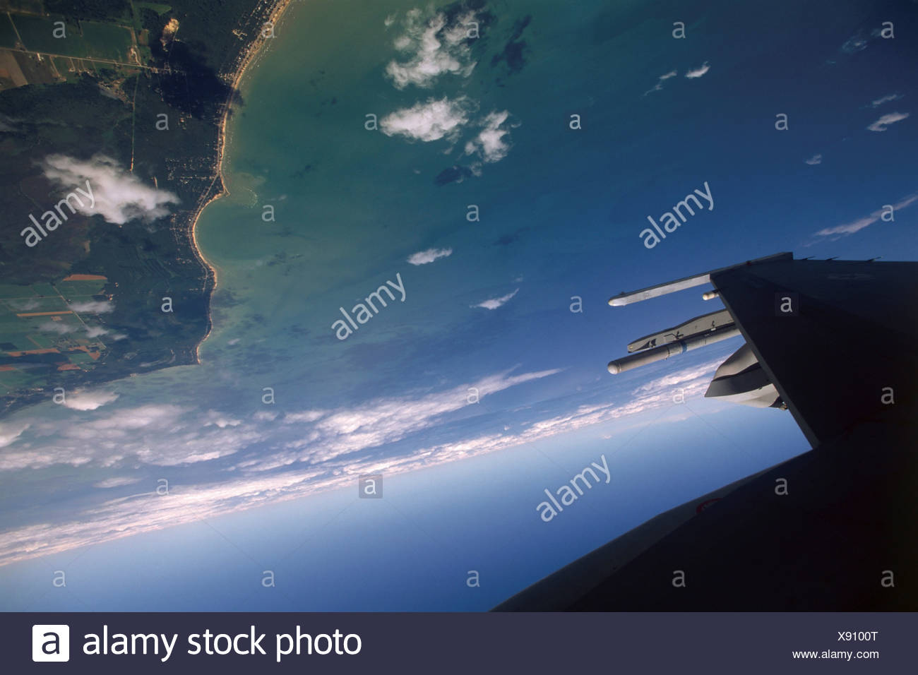 Upside Down, Approaching Mach 1, and Admiring the Lake Michigan Coastline - Stock Image