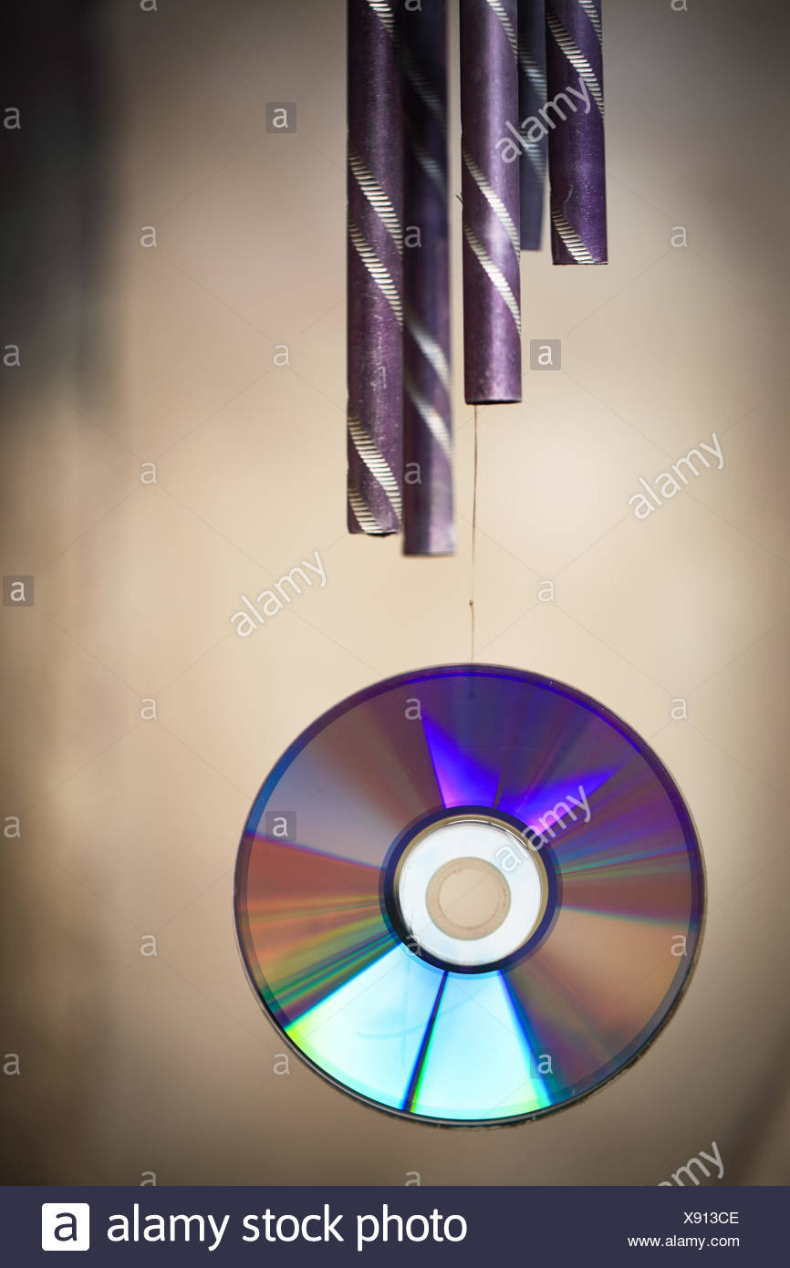 wind chime and cd rom Stock Photo