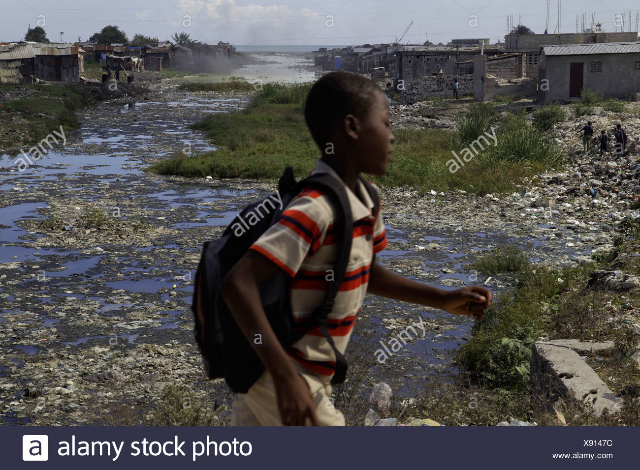 Canal with raw sewage in Port-au-Prince, Haiti Stock Photo