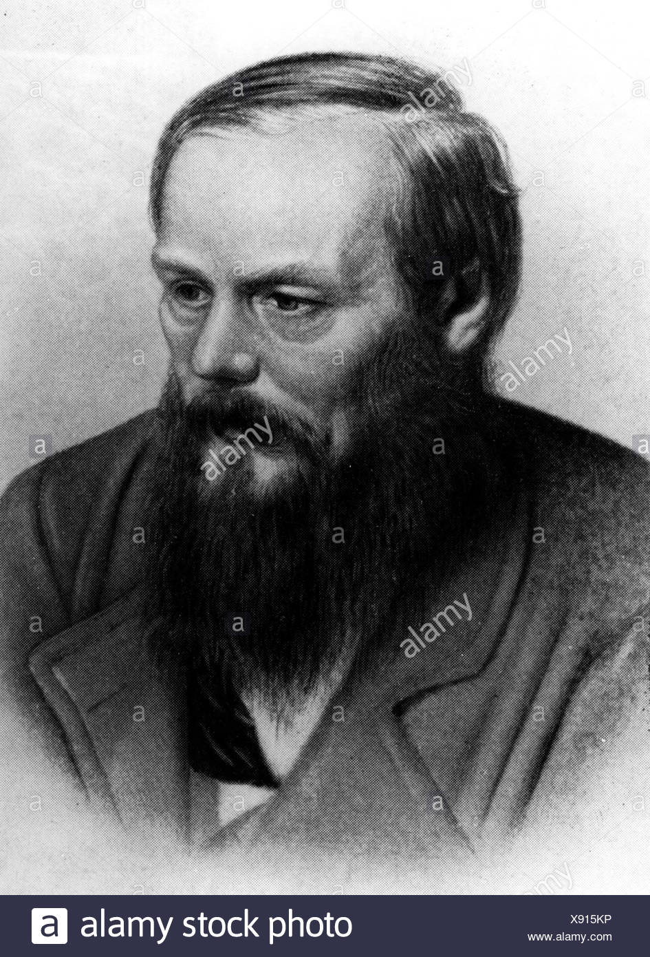 Dostoevsky, Fyodor Mikhailovich, 11.11.1821 - 9.2.1881, Russian writer, novelist, portrait, after collotype by A. F. Dressler, Additional-Rights-Clearances-NA - Stock Image
