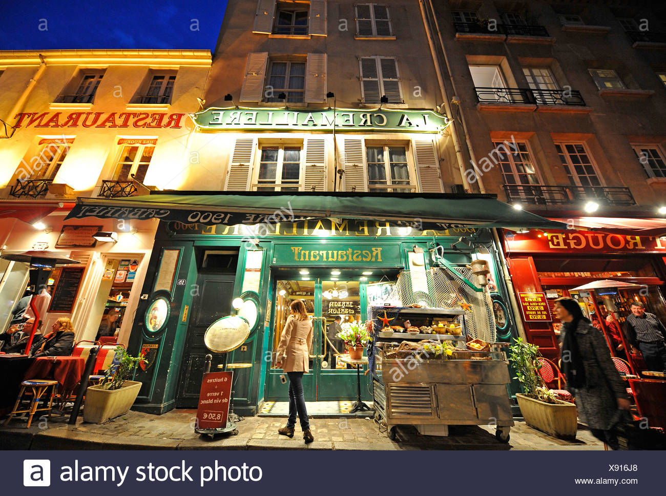 France Paris Montmartre District Restaurant Stock Photos France