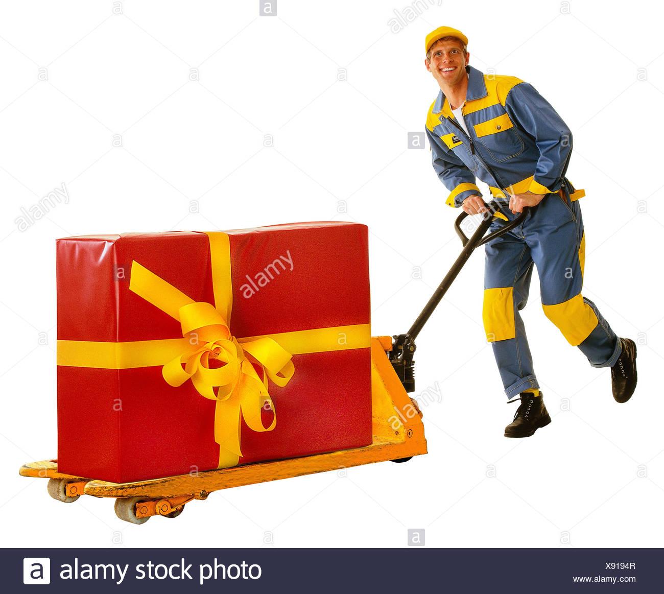 Messenger, elevating platform trucks, present, block, run, professions, man, occupation, parcel deliver, package delivery, package, studio, cut out, - Stock Image