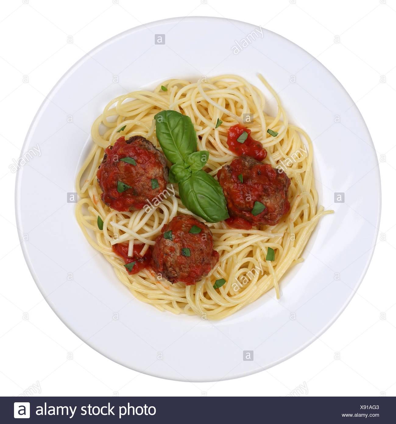 Spaghetti mit Hackfleisch Bällchen Nudeln Pasta Gericht Freisteller - Stock Image