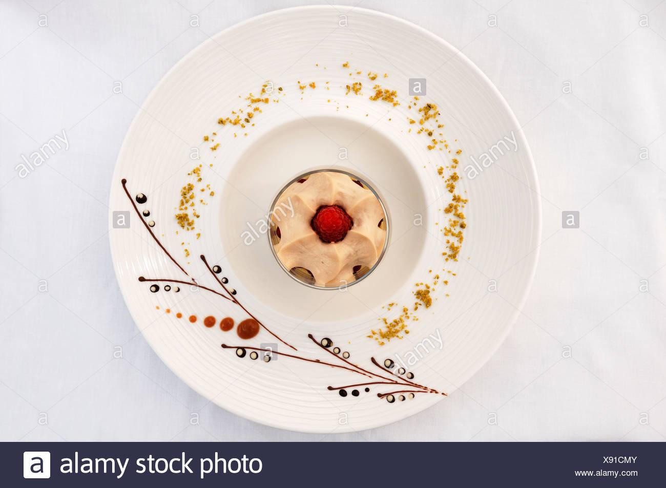 Dessert Latte Macchiato Mousse On A Decorated Plate Haute
