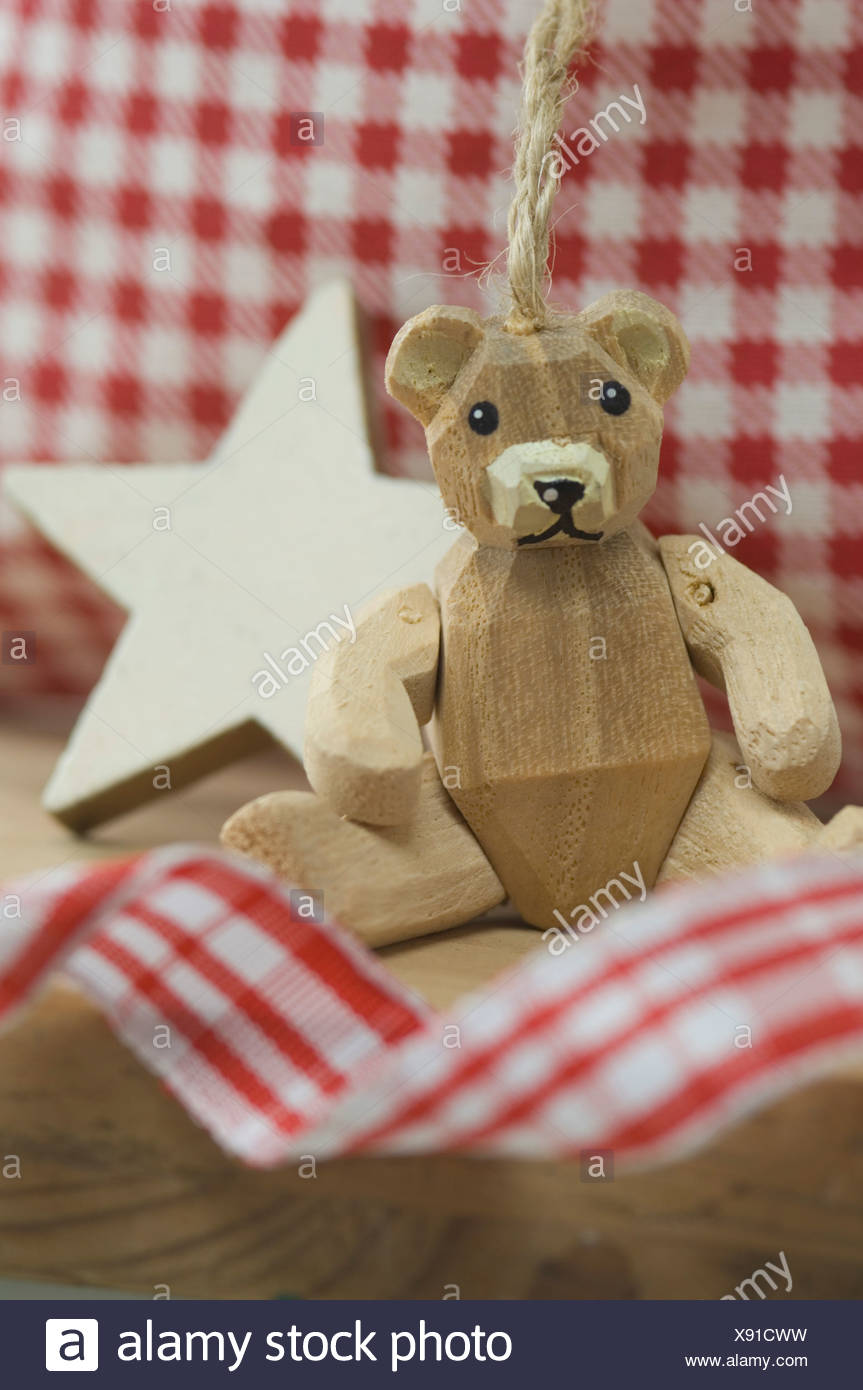 Christmas Decoration With Star And Wooden Teddy Bear Close Up Stock