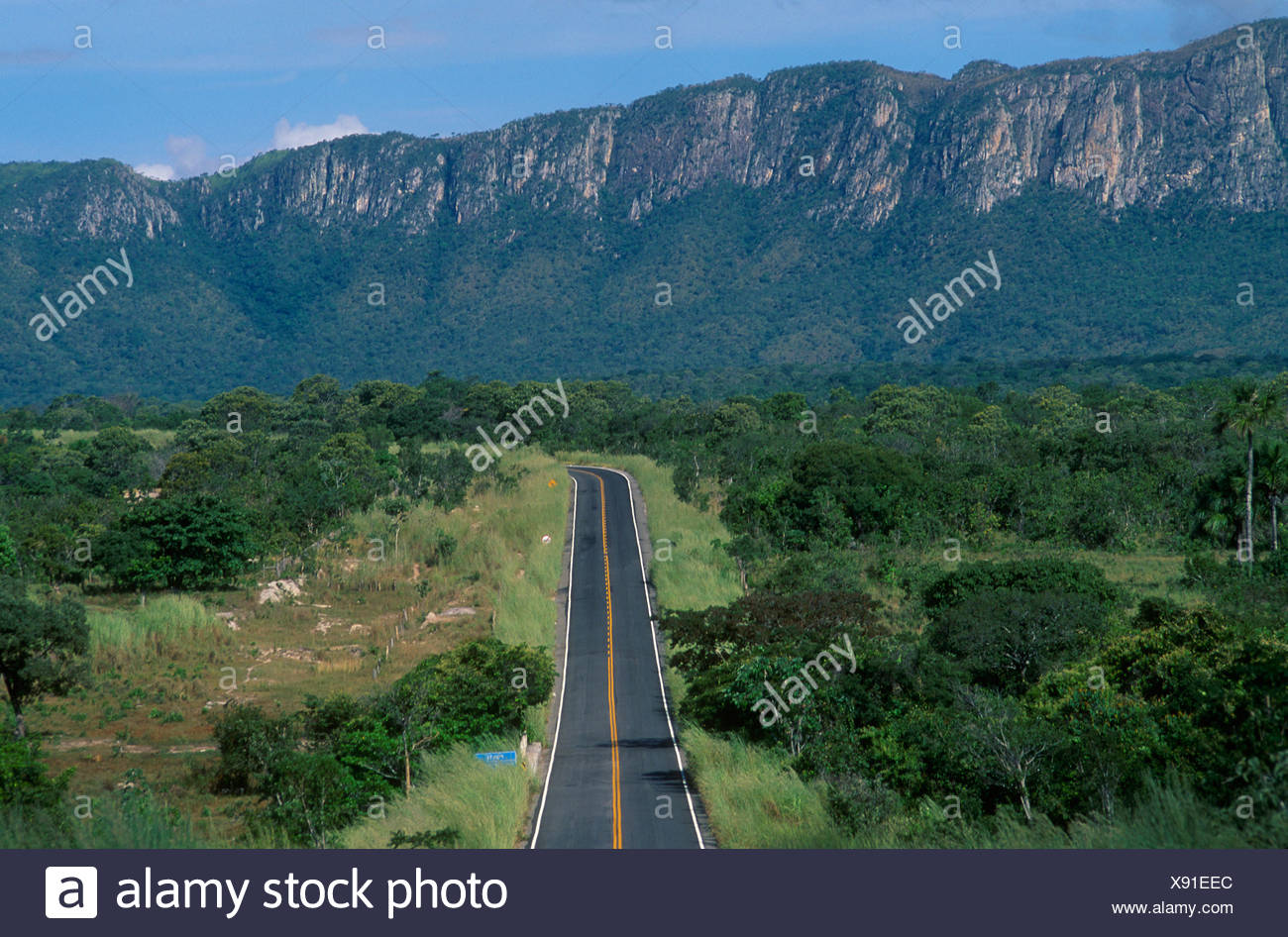 BR 010 Highway near Teresina de Goiás Road and mountains State Goiás Brazil - Stock Image