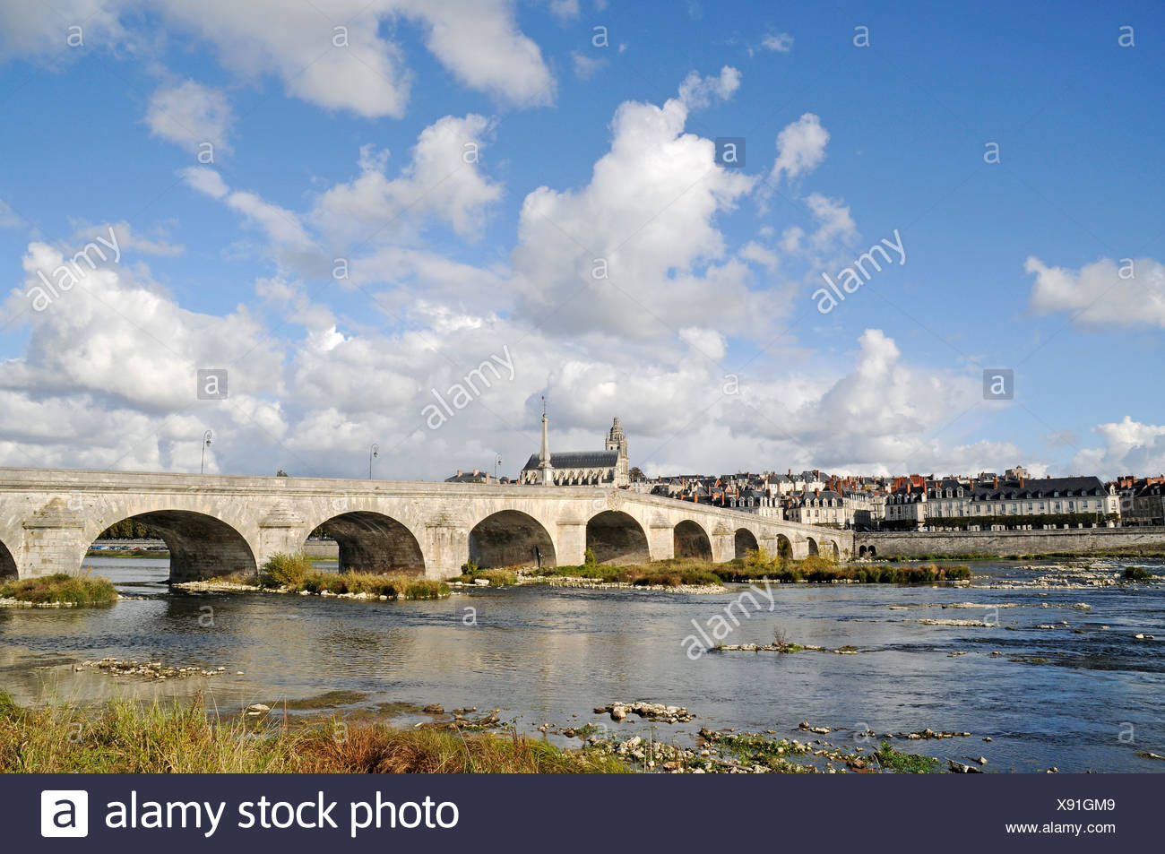 Pont Jacques Gabriel across the Loire river, Cathedrale Saint-Louis, Blois, Loir-et-Cher, Centre, France, Europe, PublicGround - Stock Image