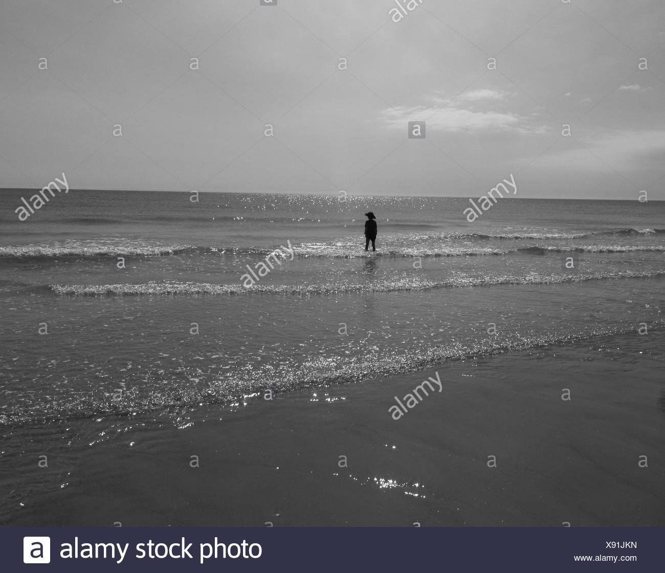 P4Rson Standing Ankle-Deep In Water On Sea Shore - Stock Image