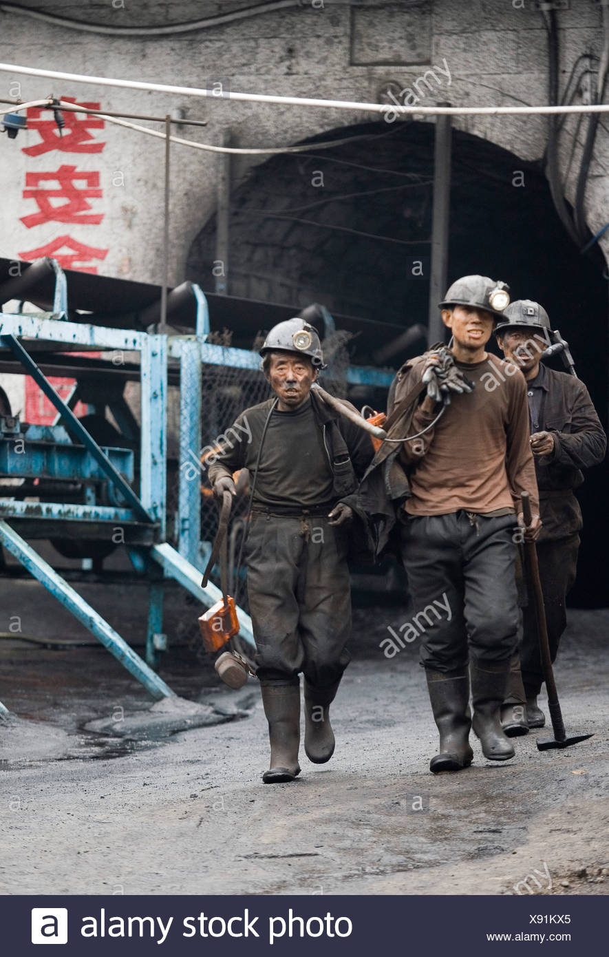 Coal miners in Shanxi China. - Stock Image