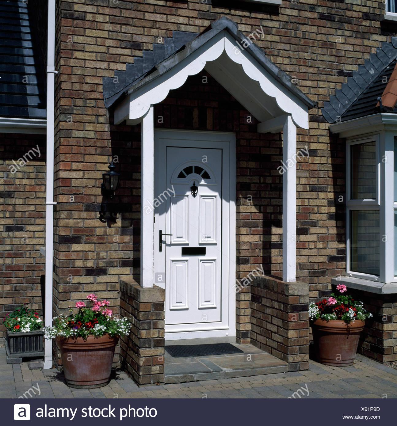 Doorway Of Detached House, Ireland - Stock Image