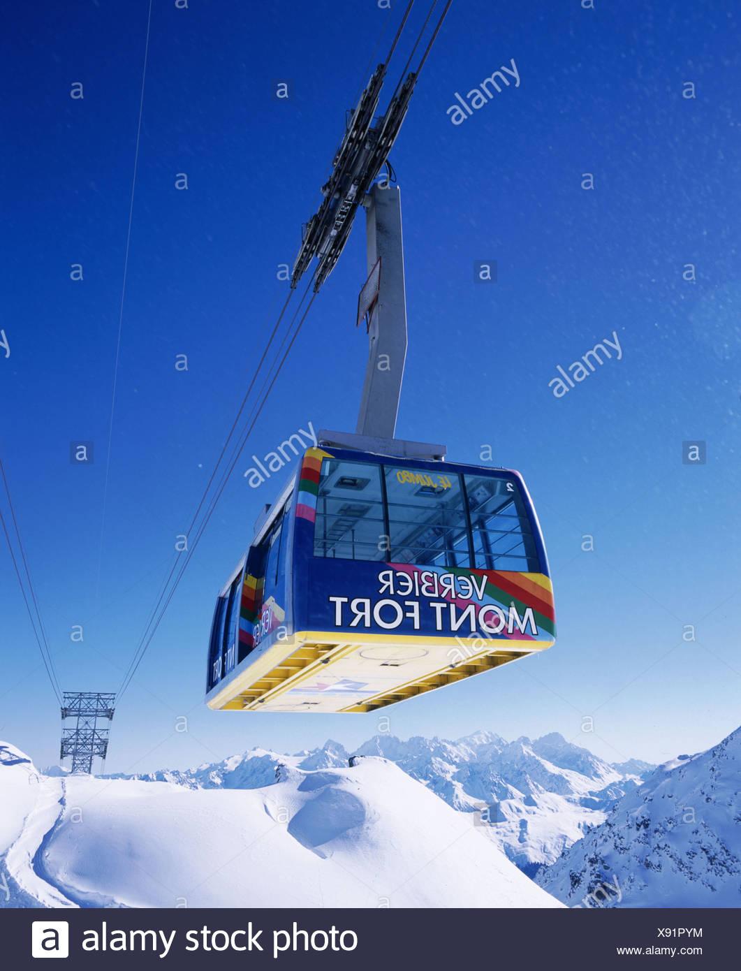 mountains gondola Mont fort mountains Switzerland Europe ski skiing area Verbier Valais Switzerland Europ - Stock Image