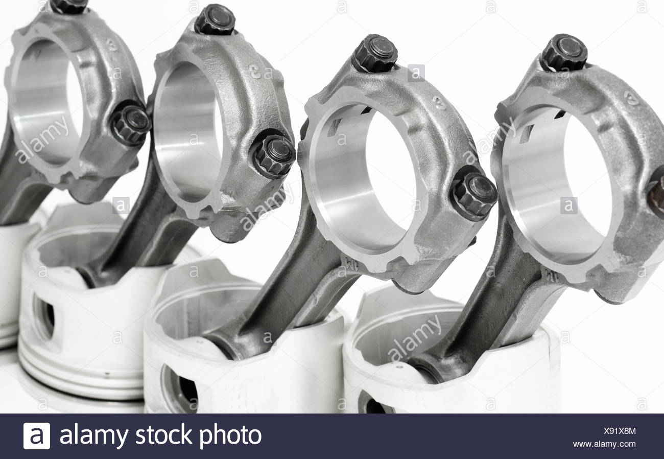 pistons with connecting rods Stock Photo