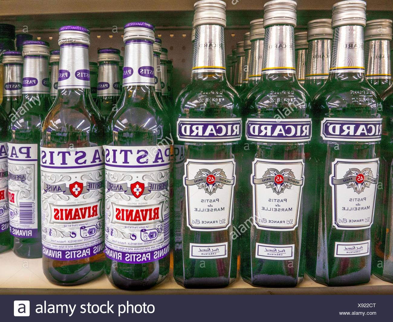 Ricard and Pastis, anise and licorice-flavored spirits, France - Stock Image