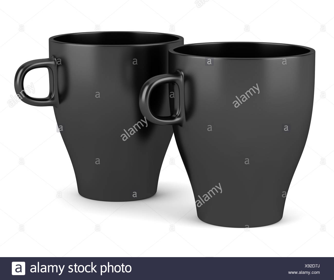 two black ceramic cups isolated on white - Stock Image