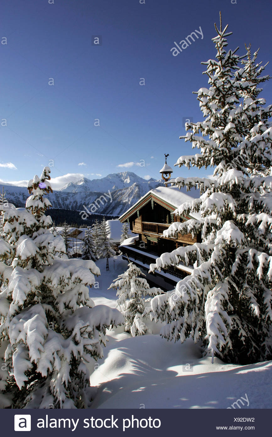 France, Alps, Savoie, Courchevel 1850 Stock Photo